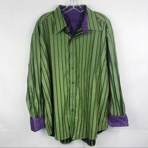 Robert Graham | Green Striped Button Down Shirt